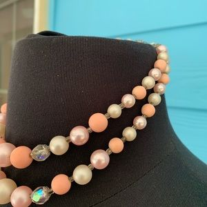 Jewelry - Necklace J38 Vintage Look Pink Cream Crystal Beads